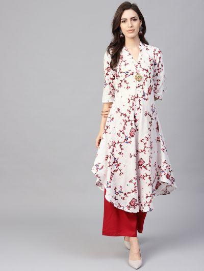 Sojanya (Since 1958), Women's White & Red Printed A-Line Kurta