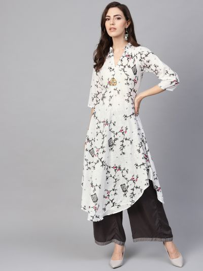 Sojanya (Since 1958), Women's White & Grey Printed A-Line Kurta