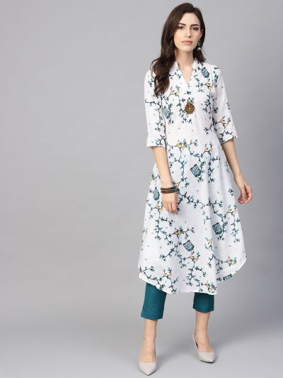 Sojanya (Since 1958), Women's White & Sea Green Printed A-Line Kurta