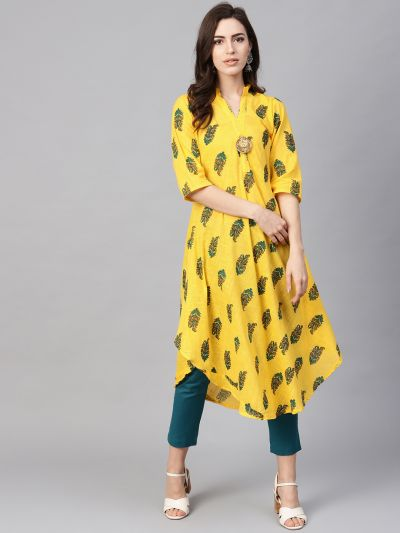 Sojanya (Since 1958), Women's Yellow & Green Printed A-Line Kurta