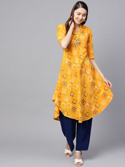 Sojanya (Since 1958), Women's Dark Yellow & Blue Geometric Printed A-Line Kurta