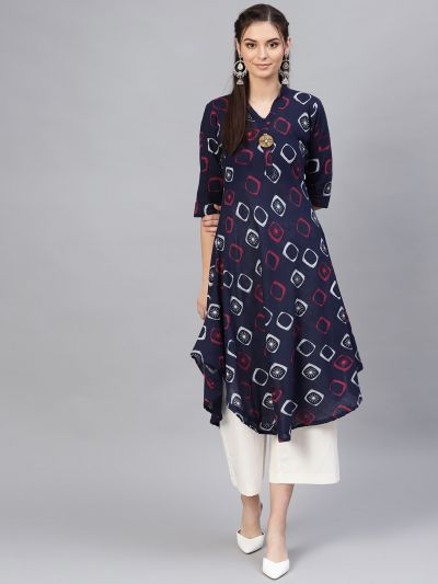 Sojanya (Since 1958), Women's Navy Blue & Red Geometric Printed A-Line Kurta