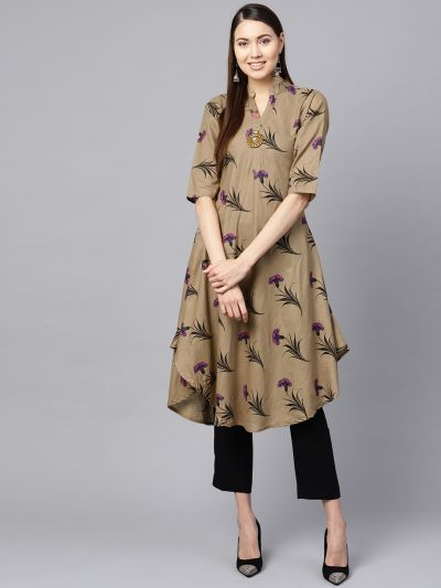 Sojanya (Since 1958), Women's Light Brown Floral Printed A-Line Kurta
