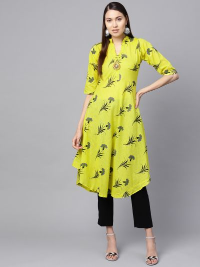 Sojanya (Since 1958), Women's Lemon Yellow Floral Printed