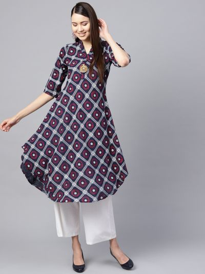 Sojanya (Since 1958), Women's Navy Blue & Red Floral Printed