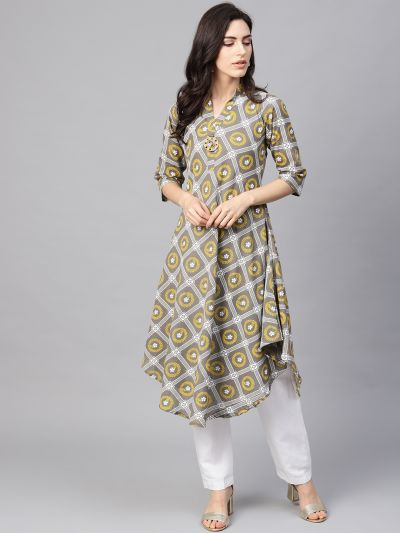 Sojanya (Since 1958), Women's Pista Green & Grey Floral Printed