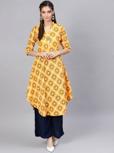 Sojanya (Since 1958), Women's Dark Yellow & Navy Blue Floral Printed
