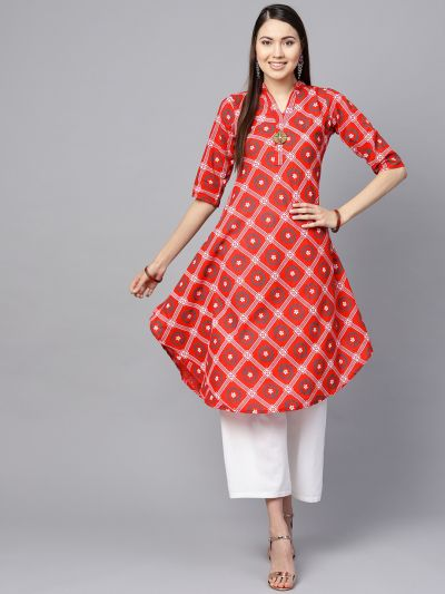 Sojanya (Since 1958), Women's Red & Dark Green Floral Printed