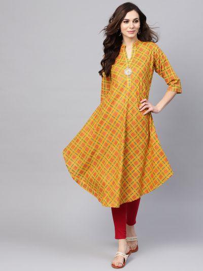 Sojanya (Since 1958), Women's Mustard & Red Printed A-Line Kurta