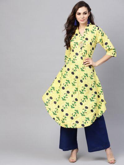 Sojanya (Since 1958), Women's Lemon Yellow & Navy Blue Printed A-Line Kurta