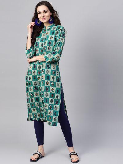 Sojanya (Since 1958), Women's Sea Green & Beige Printed A-Line Kurta
