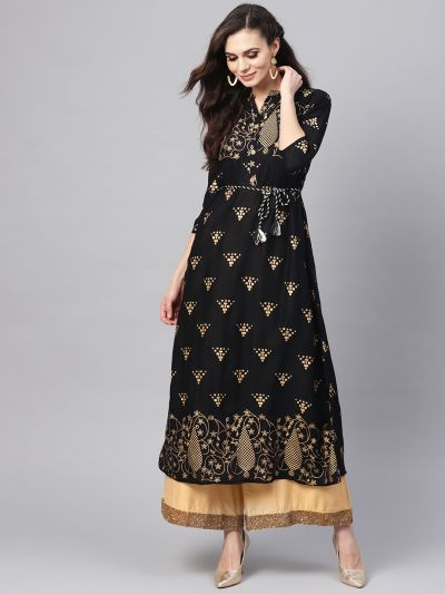 Sojanya (Since 1958), Women's Black Foil Print A-Line Kurta