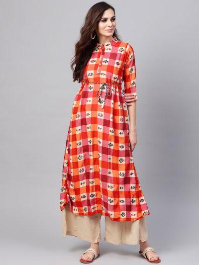 Sojanya (Since 1958), Women's Red & Beige Printed A-Line Kurta