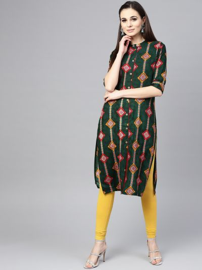 Sojanya (Since 1958), Women's Dark Green Printed Straight Kurta