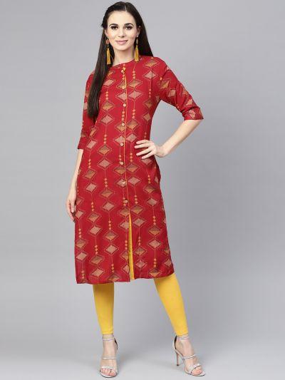 Sojanya (Since 1958), Women's Maroon Printed Straight Kurta