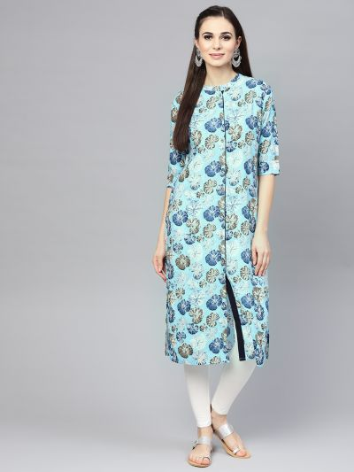 Sojanya (Since 1958), Women's Sky Blue Printed Straight Kurta