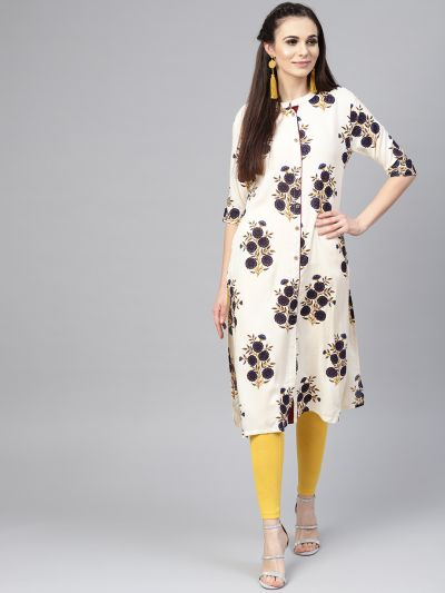 Sojanya (Since 1958), Women's Cream Printed Straight Kurta