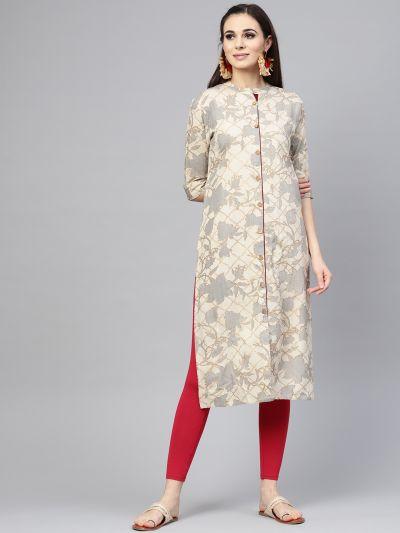 Sojanya (Since 1958), Women's Beige Foil Print Straight Kurta