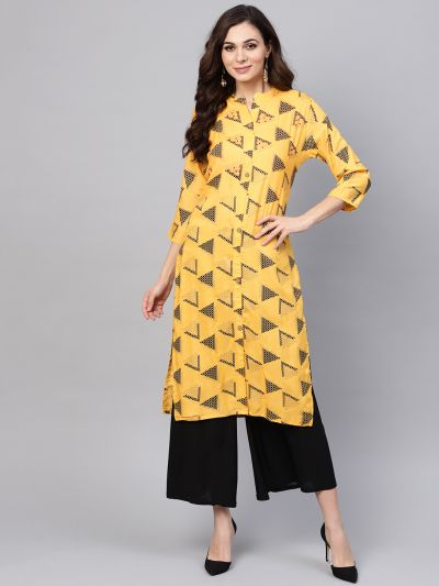Sojanya (Since 1958), Women's Yellow Printed A-Line Kurta