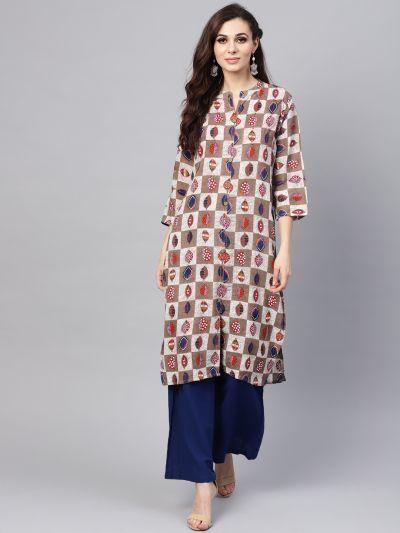Sojanya (Since 1958), Women's Brown Printed A-Line Kurta