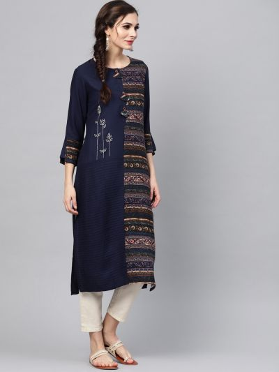 Sojanya (Since 1958), Women's Navy Blue Printed A-Line Kurta