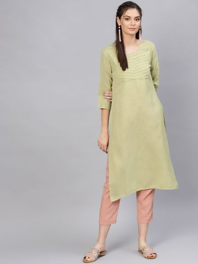 Sojanya (Since 1958), Women's Viscose Pista Green Solid Straight Kurta