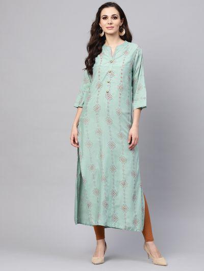 Sojanya (Since 1958), Women's Pista Green Dot Printed A-Line Kurta