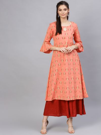 Sojanya (Since 1958), Women's Rayon Coral & Multi Printed