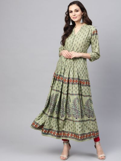 Sojanya (Since 1958), Women's Pista Green & Sea Green Printed Anarkali Kurta