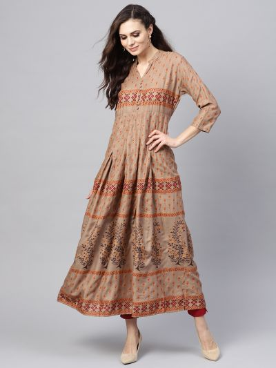 Sojanya (Since 1958), Women's Bronze& Rust Printed Anarkali Kurta