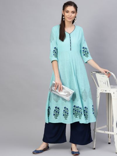 Sojanya (Since 1958), Women's Cotton Sky Blue & Blue Printed Anarkali Kurta
