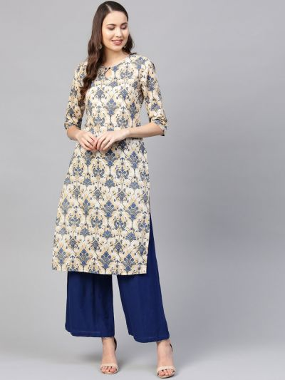 Sojanya (Since 1958) Women's Cotton Beige & Blue Printed Straight Kurta