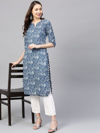 Sojanya (Since 1958) Women's Cotton Indigo & Off White Printed Straight Kurta