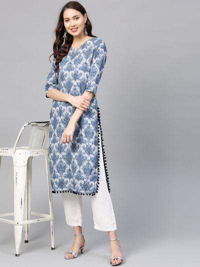 Sojanya (Since 1958) Women's Cotton Indigo Blue Printed Straight Kurta