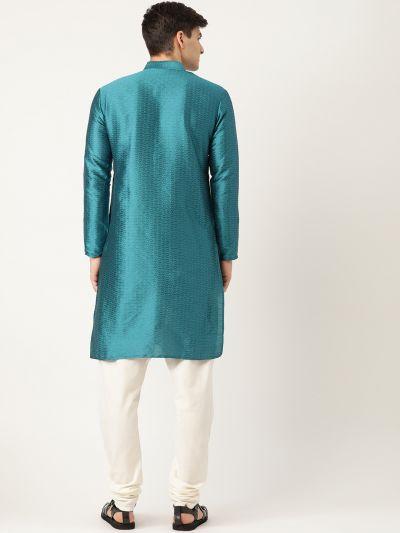Sojanya (Since 1958), Men's Silk Blend PeacockBlue Solid Kurta & OffWhite Churidar Pyjama Set
