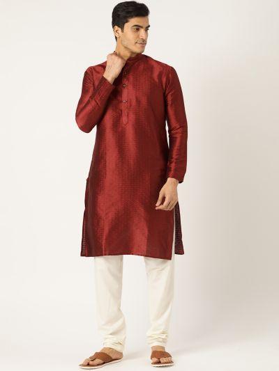 Sojanya (Since 1958), Men's Silk Blend Maroon Solid Kurta & OffWhite Churidar Pyjama Set