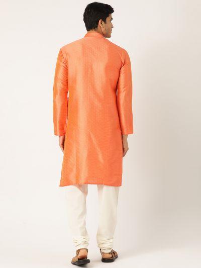 Sojanya (Since 1958), Men's Silk Blend Light Rust Solid Kurta & OffWhite Churidar Pyjama Set