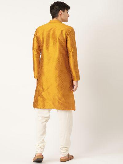 Sojanya (Since 1958), Men's Silk Blend Mustard Solid Kurta & OffWhite Churidar Pyjama Set