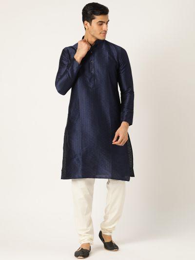Sojanya (Since 1958), Men's Silk Blend Navy Solid Kurta & OffWhite Churidar Pyjama Set