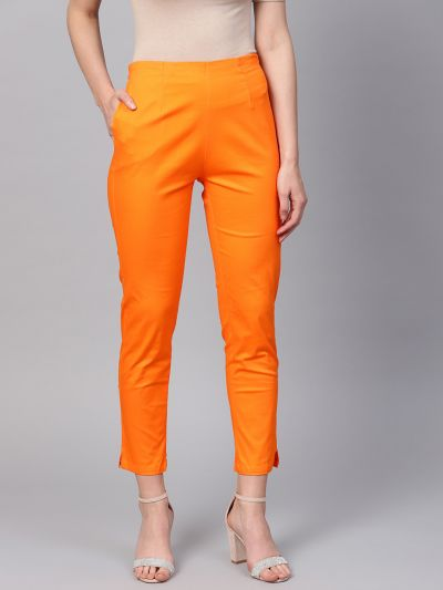 Sojanya (Since 1958), Women Cotton Orange Slim Fit Trousers