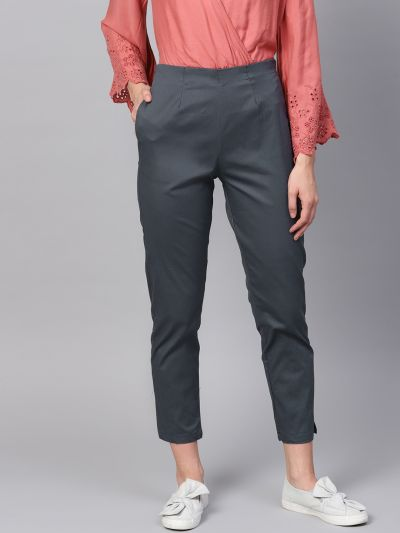 Sojanya (Since 1958), Women Cotton Grey Slim Fit Trousers