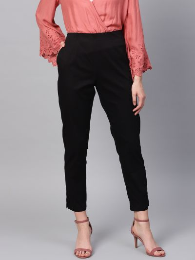 Sojanya (Since 1958), Women Cotton Black Slim Fit Trousers