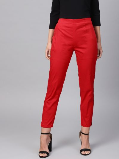 Sojanya (Since 1958), Women Cotton Red Slim Fit Trousers