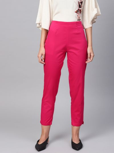 Sojanya (Since 1958), Women Cotton Pink Slim Fit Trousers