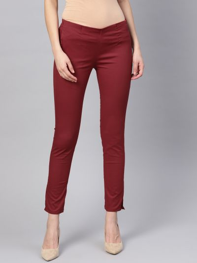 Sojanya (Since 1958), Women Cotton Maroon Slim Fit Trousers