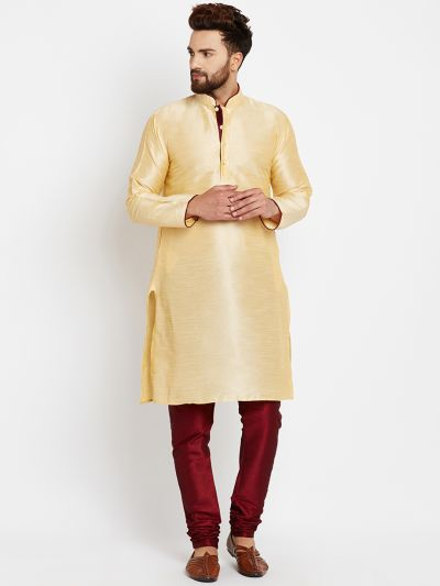 Sojanya (Since 1958), Golden, Dupion Silk Kurta Churidaar Set