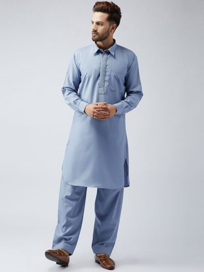 Sojanya (Since 1958), Cotton Grey Pathani Kurta Salwar Set