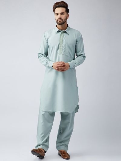 Sojanya (Since 1958), Cotton Pista Kurta and Off White Churidar Salwar Set