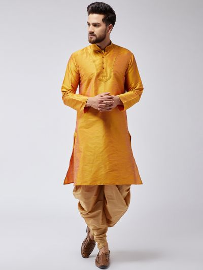 Sojanya (Since 1958), Men's Mustard Silk Kurta and Gold Harem Pant set