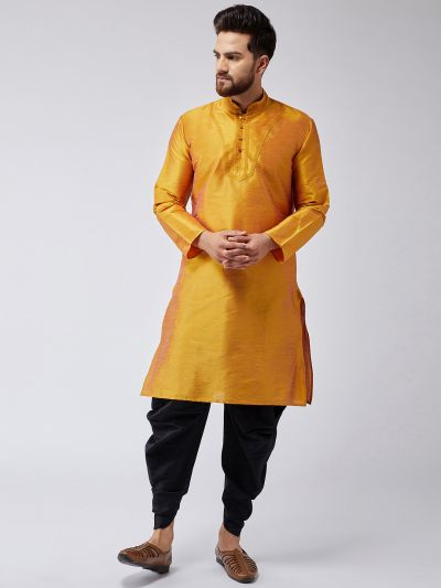 Sojanya (Since 1958), Men's Mustard Silk Kurta and Black Harem Pant set